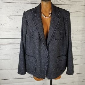 Jones New York Blazer Tweed Raw Edges Size 20W